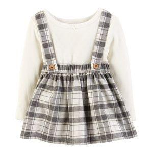 Carter's plaid bib/jumper dress set